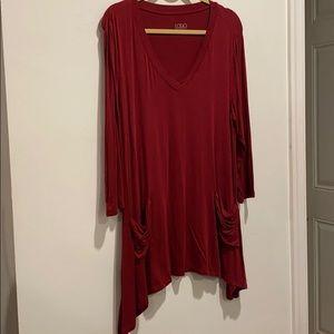 LOGO maroon shirt long with pockets V-neck